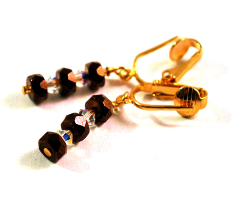 Clip on Earrings for Women with Czech Faceted Brown Beads Swarovski Crystals