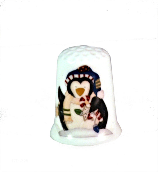 Christmas Penguin Collectible Thimbles, Handmade