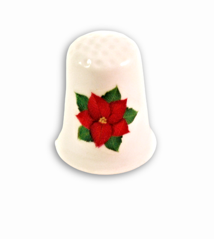 Christmas Poinsettia Thimbles, Collectible Handmade Holiday