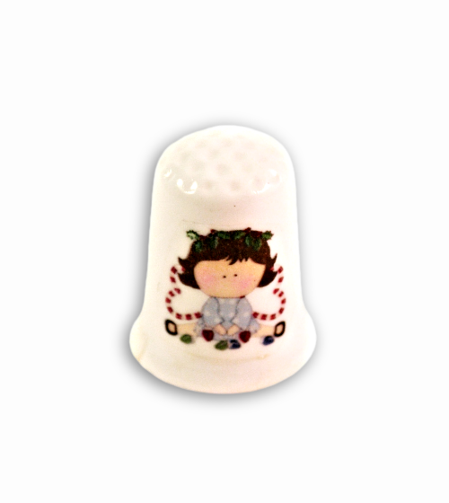 Christmas Girl with Candy Canes Thimbles, Collectible Handmade Holiday