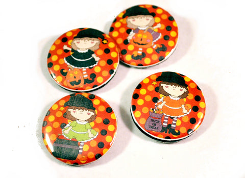 4 Halloween Witches Round Pin Buttons for Teachers Trick or Treat Gifts