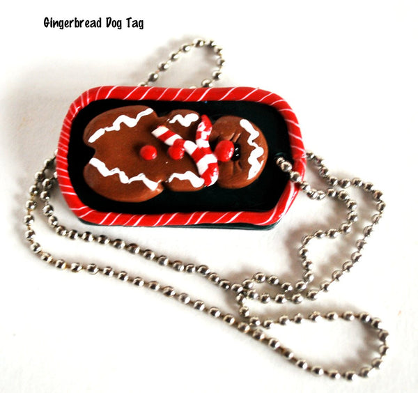 Red and Green Polymer Clay Christmas Gingerbread Dog Tag Necklace