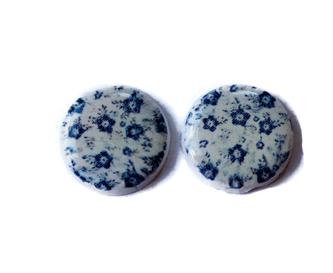 15mm Blue Handmade Polymer Clay Beads Set of 2, Jewelry Supplies