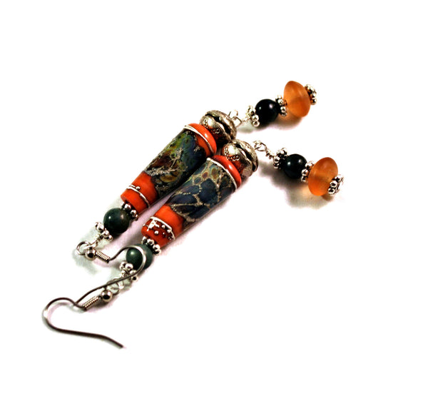Boho Dangle Earrings for Women with Orange Lampwork Beads and Picasso Jasper