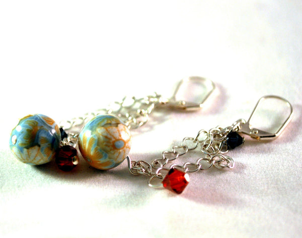 Orange Flower Dangle Earrings for Women Silvertone Chains Red Blue Crystals
