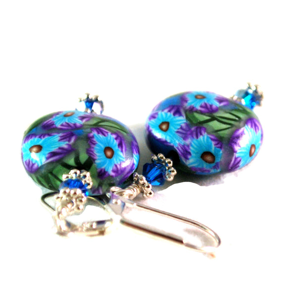 Blue and Teal Flower Handmade Polymer Clay Earrings for Women