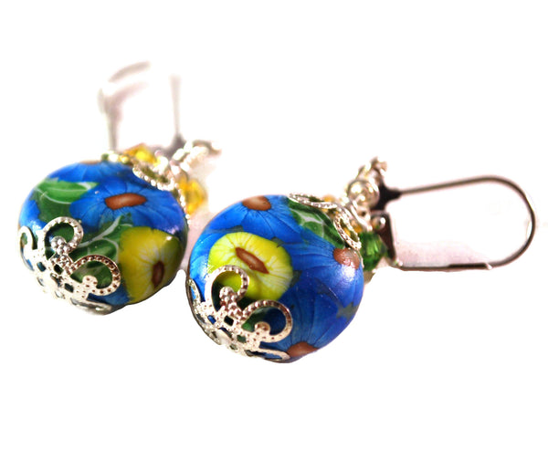 Blue and Yellow Flower Handmade Polymer Clay Earrings for Women