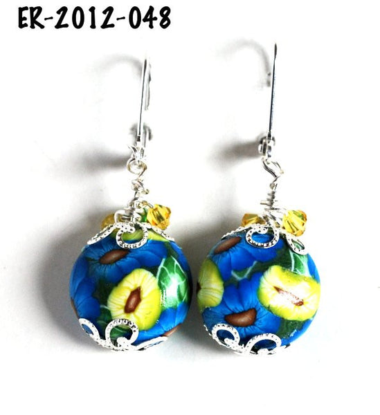 Blue and Yellow Flower Handmade polymer clay earrings