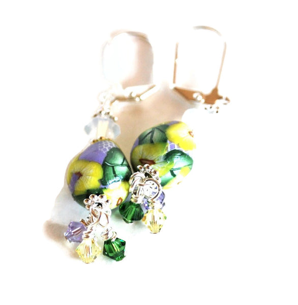 Yellow and Blue Flower Earrings for Women with Swarovski Crystals