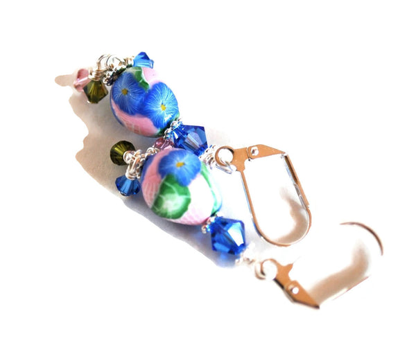 Blue Flower Drop Handmade Polymer Clay Earrings for Women with Dangles