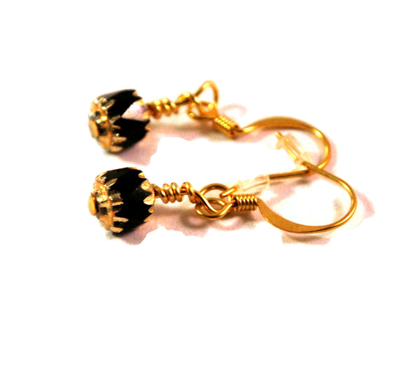 Black and Gold Earrings for Women Dainty Drop Czech Bead Jewelry