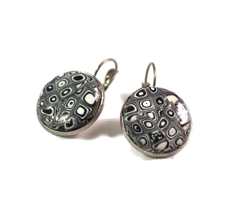 Black and White Earrings for Women Drop Buttons