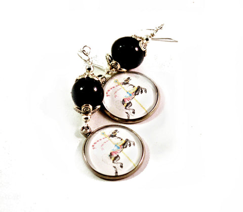 Black Carousel Horse Earrings for Women with Handmade Polymer Clay Beads