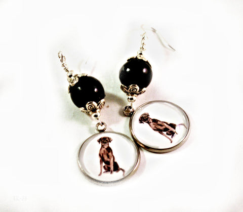 Black Labrador Retriever Dangle Dog Earrings for Women