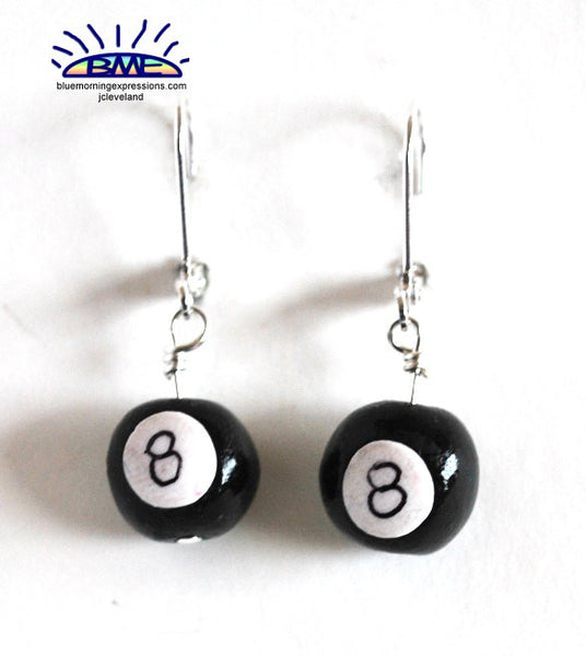 8 Ball Novelty Earrings Handmade Polymer Clay Silvertone