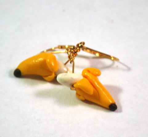 Banana Novelty Earrings Handmade Goldtone