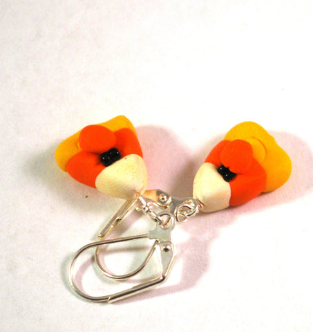 Halloween Candy Corn Novelty Earrings, Silvertone