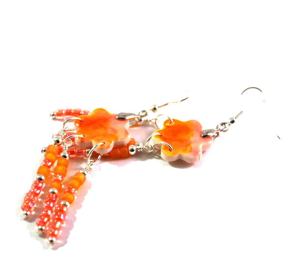 Orange and Pink Flower Chandelier Earrings for Women 2-Inch Dangles