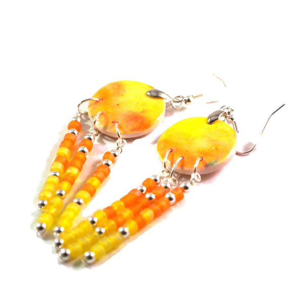 Orange and Yellow Chandelier Earrings for Women 3-inch Dangles