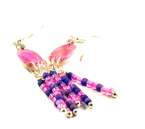 Purple and Pink Oval Chandelier Earrings  for Women 2.5-Inch Dangles