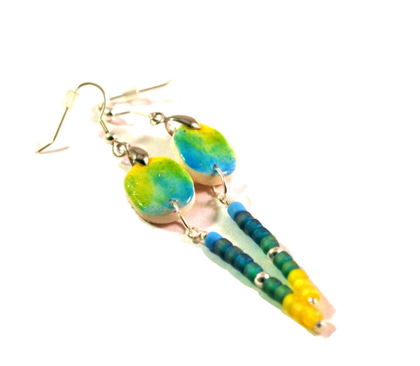 Teal and Yellow Chandelier Earrings for Women with 2-Inch Long Dangles