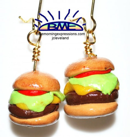 Cheeseburger Novelty Earrings Handmade Polymer Clay Beads