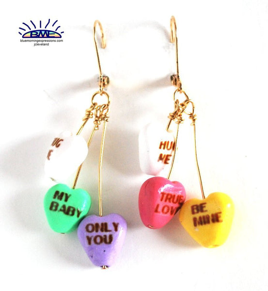 Valentine's Day Conversation Heart Novelty Earrings Silvertone Dangle