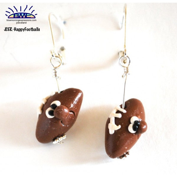 Handmade Silly Football Novelty Earrings, Sports Jewelry Silvertone