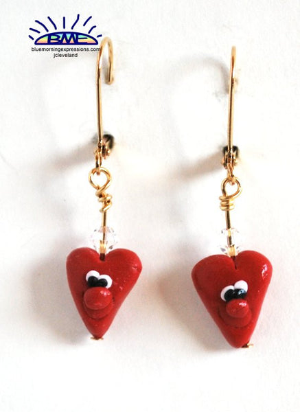 Handmade Valentines Day Novelty Earrings, Red Heart Goldtone