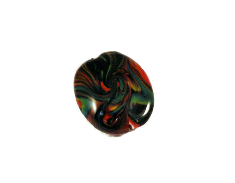 28mm Red Green and Black Lentil Focal Handmade Polymer Clay Beads