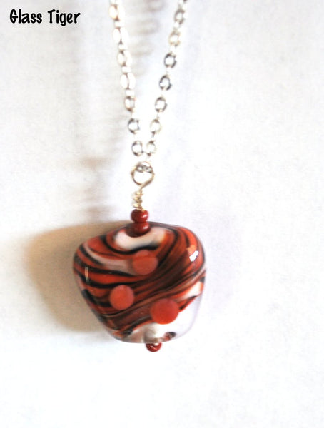 Brown and White Swirled Lampwork Bead Pendant Necklace on a Chain