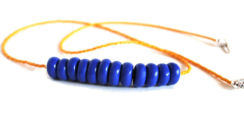 Blue and Gold Polymer Clay Beaded Necklace in Team Colors