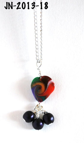 Handmade Swirled Heart Pendant Necklace on a Chain 16-inches Silvertone