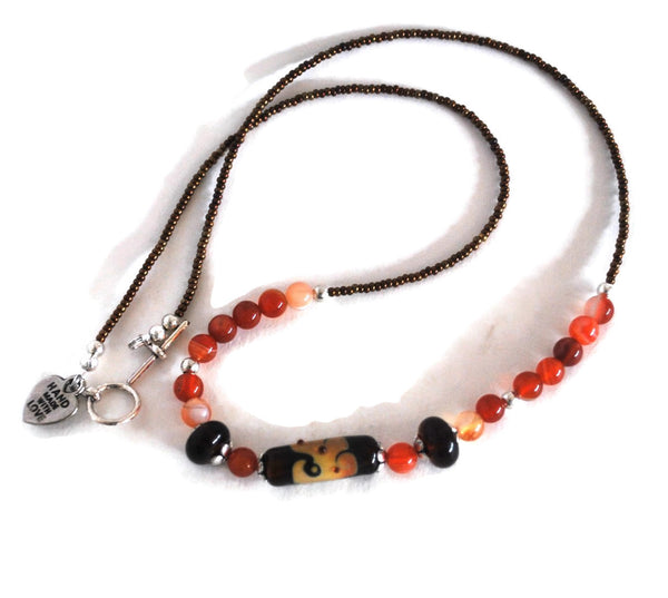 Brown Lampwork Beaded Necklace with Red Stripe Agates, Necklace for Women