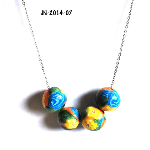 Yellow Flower and Blue Rose Beads on a Chain Necklace for Women