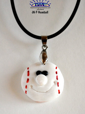 Polymer Clay Baseball Jewelry Handmade Necklace