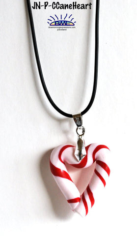 Christmas Candy Cane Heart Pendant Necklace on Black Cord Novelty Jewelry