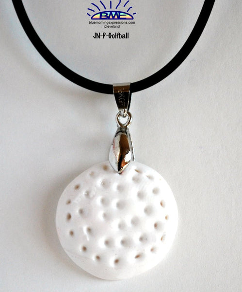 Golf Ball Pendant Necklace on Black Cord Novelty Jewelry