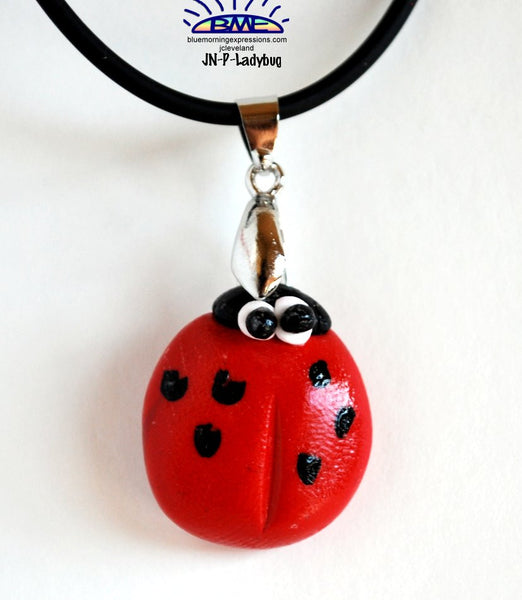 Ladybug Pendant on Black Cord Necklace Novelty Jewelry