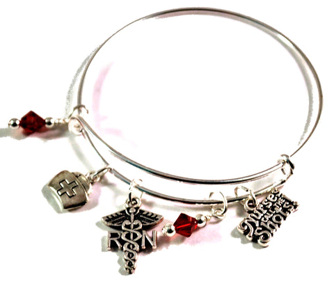 RN nurse bangle bracelet with charms