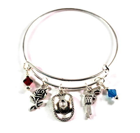 cowgirl guns and roses bangle bracelet