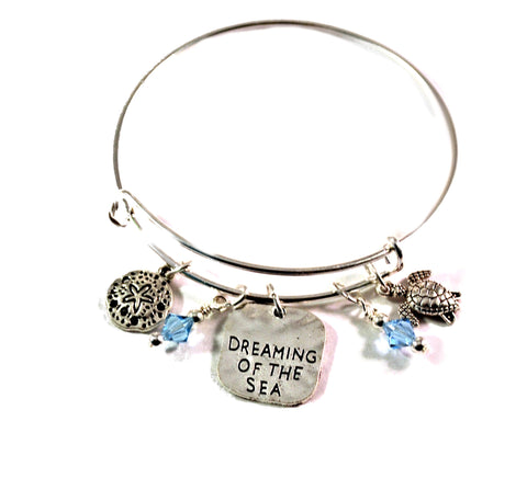 sea turtle sand dollar ocean bangle bracelet