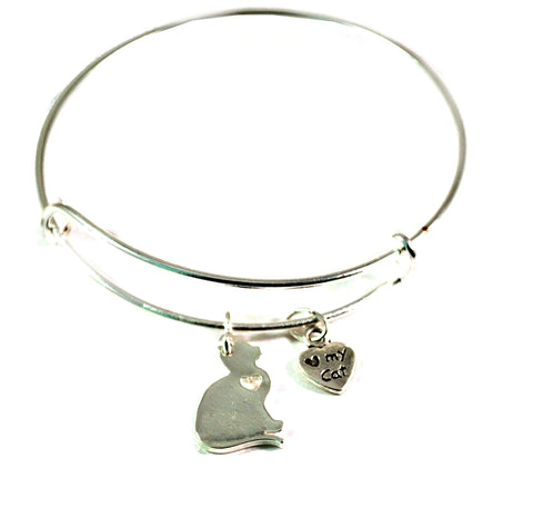 cat heart bangle bracelet