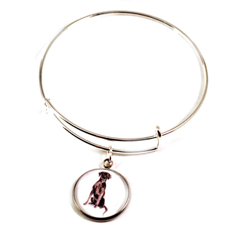 dog charm bangle bracelets for women