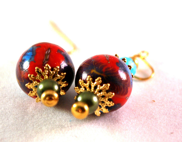 Purple and Red Flower Earrings for Women, Handmade Polymer Clay Beads