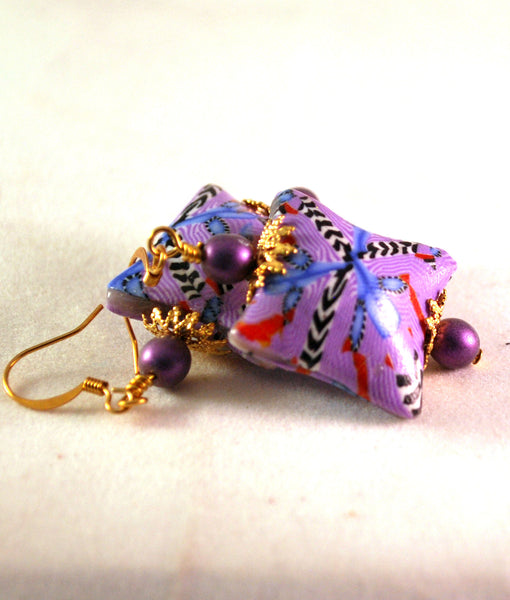 Red and Purple Drop Square Earrings for Women, Handmade Polymer Clay Beads