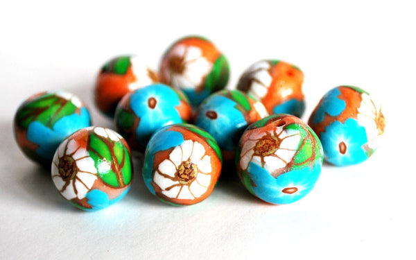 10 White Flower Round Handmade Polymer Clay Beads Jewelry Making Supplies