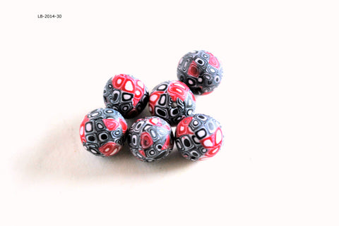 13mm Red and Black Dot Round Handmade Polymer Clay Beads Set of 6