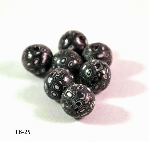 black and white polymer clay beads