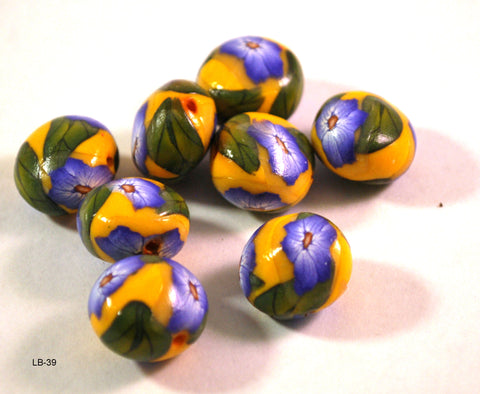 blue flower polymer clay beads